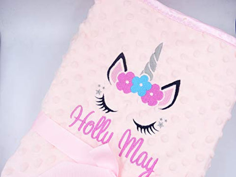 Unicorn Personalised Baby Blanket Pink