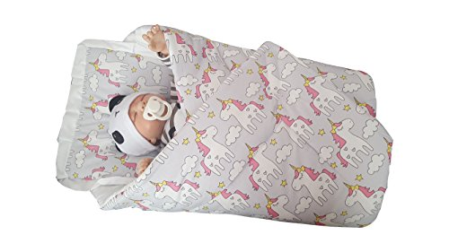 BlueberryShop Classic with Pillow Swaddle Wrap Blanket Sleeping Bag for Newborn, baby shower GIFT 100% Cotton, 0-3m ( 0-3m ) ( 78 x 78 cm ) Grey Unicorn