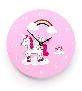 Unicorn Wall Clock - Pink - For Kids