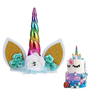 Unicorn Cake Topper with Flowers