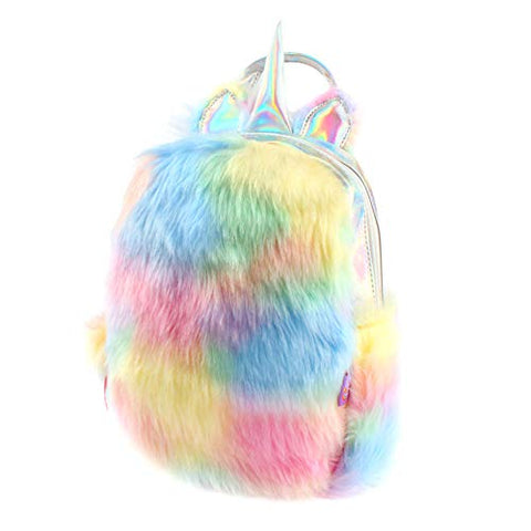 Fluffy multicoloured backpack holographic horn