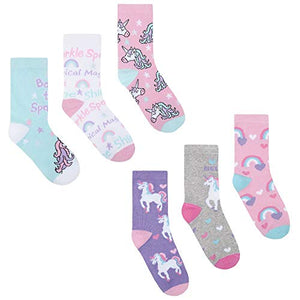 Girls Novelty Unicorn Cotton Rich Socks Unicorn (6 Pairs) UK 6-8 (EU 22-26)