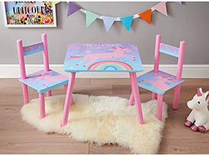 Unicorn Children's Wooden Table & 2 Chairs | Pink & Multicoloured