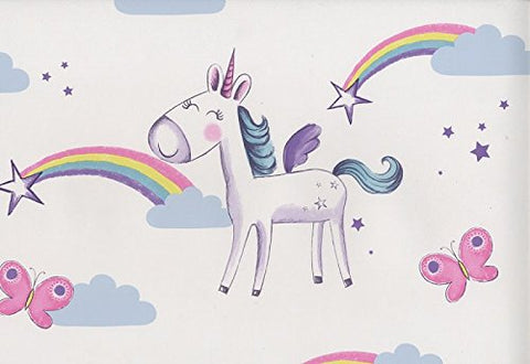 Unicorn wallpaper, rainbows, stars, butterflies, girls bedroom