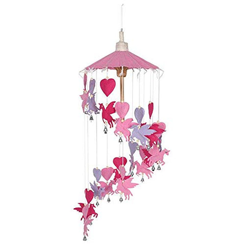 Pink And Purple Cascading Unicorn and Hearts Mobile Decoration
