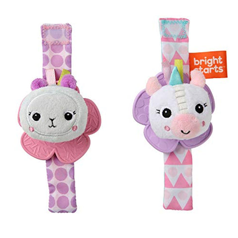 Unicorn & Llama - Bright Starts Rattle & Teethe Wrist Pals Toy - Set of Two
