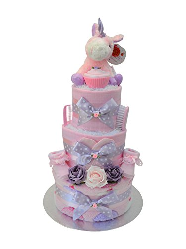 Magical 3 Tier 'Cupcakes & Unicorns' Nappy Cake New Baby Girl Gift