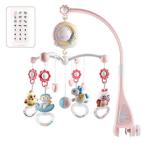 Baby Unicorn Cot Mobile with projector, night light pink