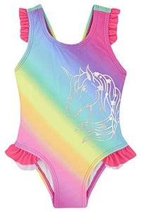 Rainbow unicorn swimming costume