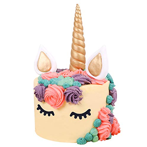 Unicorn Cake Topper Set with Horn - Gold