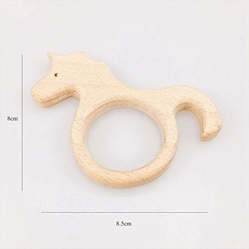 baby tete Baby 10pc Unicorn Beech Wooden Baby Teether Chew Toy Teething Ring Wooden Infant Teething