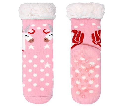 Cosy Indoor Slipper Socks Pink with Unicorn for Girls Children (8-12)