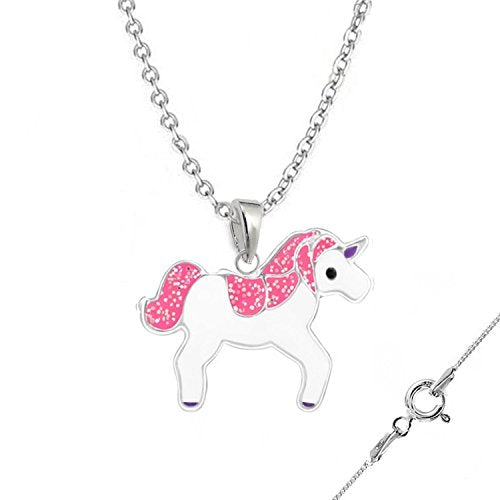 silver unicorn necklace pink unicorn with chain