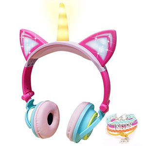 Cute Unicorn Headphones With LED Glowing Ears | Volume Limiting Kids Headset