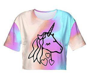 Fringoo ® Women's Girls Teenagers Crop Top Summer Short Sleeve T-shirt Cropped Party Shirt Festival Holiday Top 8 / 10 / 12 / 14 (8 / 10 / 12, Dreaming Unicorn - Tee)