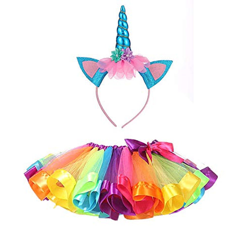 Unicorn tutu skirt fancy dress and headband