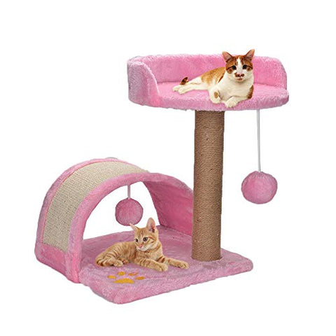 Pink Cat Tree Scratch Post | Kitten Play Towers | Activity Centre With Toys And Bed | Quieting