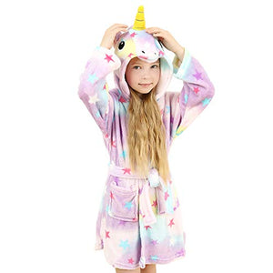 Soft Unicorn & Stars Hooded Bathrobe- Dressing Gown - Sleepwear for Kids