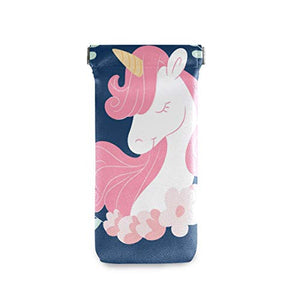 Cute Pink Unicorn Sunglasses Pouch Squeeze Top- Blue