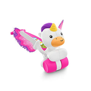 Fisher-Price Push & Flutter Unicorn, Pink Push Toy for Baby, Multicoloured