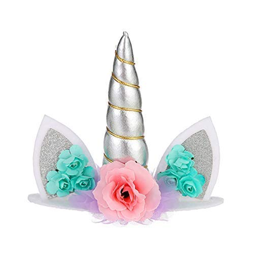Unicorn Cake Topper Handmade Flowers Unicorn Horn Ears Happy Birthday DIY Glitter Birthday Cupcake Topper Candle Party Decoration for Baby Shower Wedding Birthday (Silver)