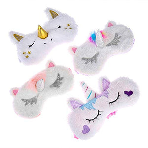 4 Pieces Unicorn Sleep Masks, Soft Plush Blindfold for Women & Girls
