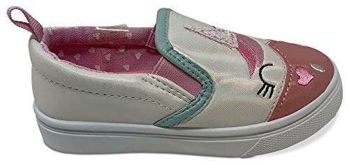 Unicorn slip on white pink girls shoe