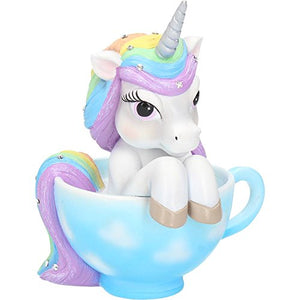 Cutiecorn Figurine | Unicorn in a Teacup Ornament | White | Nemesis Now