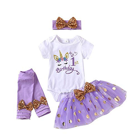 Lavender 4 Piece Unicorn Cake Smash Outfit For Baby Girls