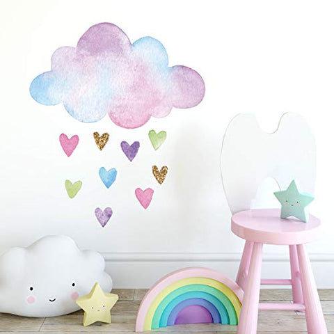 Watercolour Cloud And Hearts Wall Sticker | Size variations available