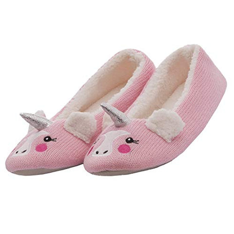 Forever Dreaming Ladies Super Warm Unicorn Novelty Slippers | Pink