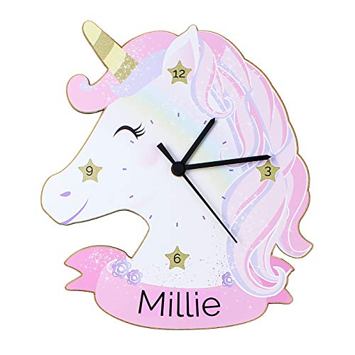 Children's Personalised Unicorn Shaped Wooden Bedroom Clock