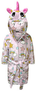 Kids Unicorn Dressing Gown | Children's Soft Hooded Bathrobe | Rainbow & Stars