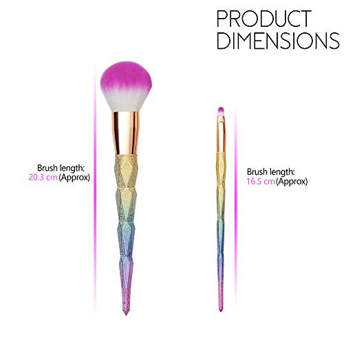 Stunning unicorn make up brushes, rainbow hues, dip dyed pink bristles, pastel coloured hued handles. 10 pieces per set.