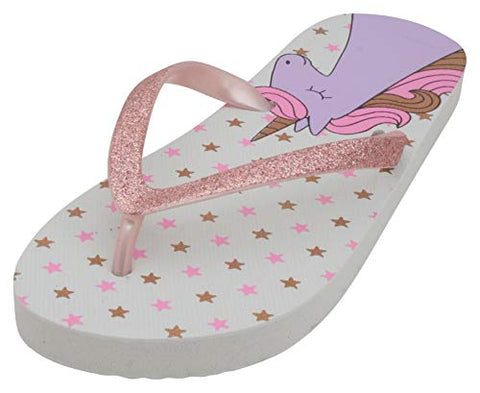 Girls Unicorn Printed Flip Flops | White & Pink Glitter