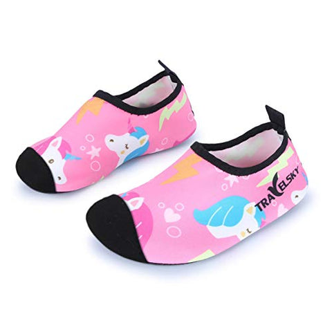 Girls Cute Pink Unicorn Swim Water Shoes / Beach Shoes