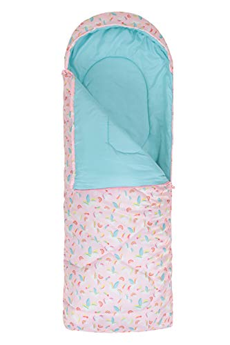 Mountain Warehouse Apex Mini Square Patterned Sleeping Bag - 2 Season, Lightweight, Insulated Pink