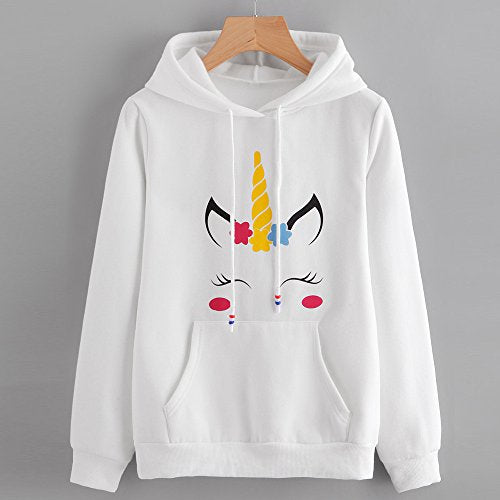 Unicorn Hoodie / Hooded Jumper For Women - White