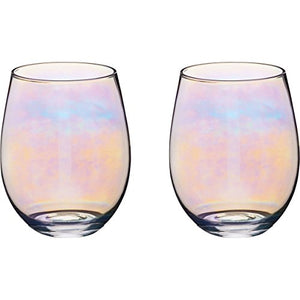 BarCraft Rainbow-Pearl Iridescent Tumbler Glasses, 600 ml (Set of 2)
