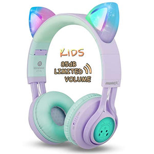 Kids Unicorn Headphones | Lilac & Mint Green | LED Light Up Ears