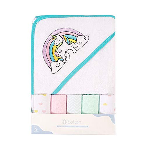 Unicorn And Rainbow Soft Baby Hooded Bath Towel and Washcloth