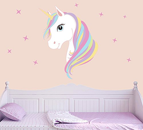 Colourful Unicorn & Stars Full Colour Wall Sticker - Children's Bedroom Nursery Decal Transfer - LARGE 70cm x 48cm - SELECT SIZE FROM MENU BELOW