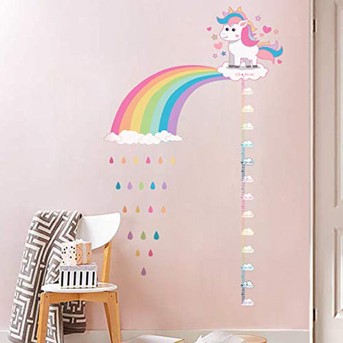 Unicorn Rainbow Height Chart Wall Stickers | Wall Decals for Kids Girls Bedroom Nursery