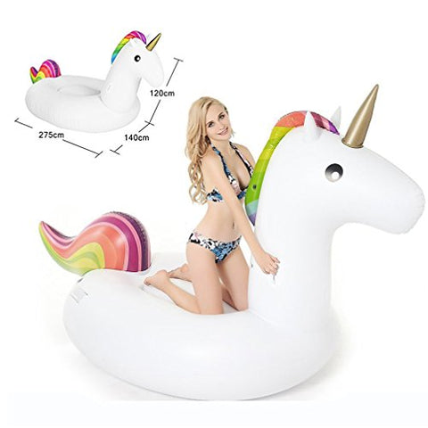 Giant Inflatable Unicorn Pool Float, Large Outdoor Swimming Pool Floatie Lounge Toy for Adults & Kids Holds Up to 2-3 People (L - 108.3 x 55.1 x 47.2 Inch)
