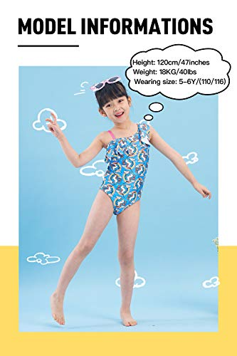 IKALI Girls Swimming Costume One Piece, Kids Unicorn Rainbow, Blue