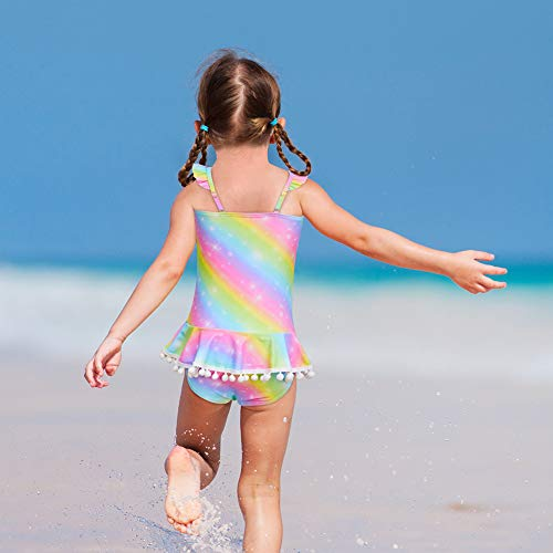 Multicoloured unicorn swimming costume kids
