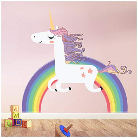 Unicorn On Rainbow Wall Sticker | Various Sizes
