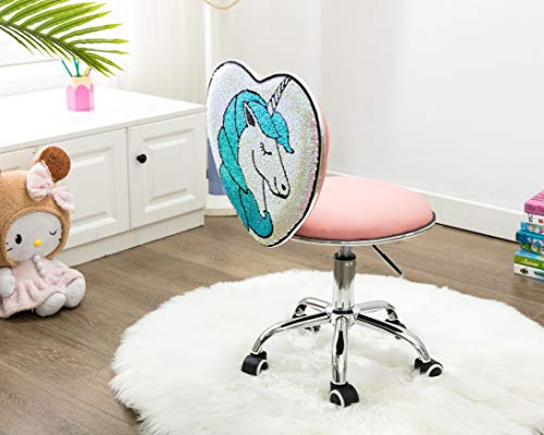 Sequined Unicorn Work Chair For Kids