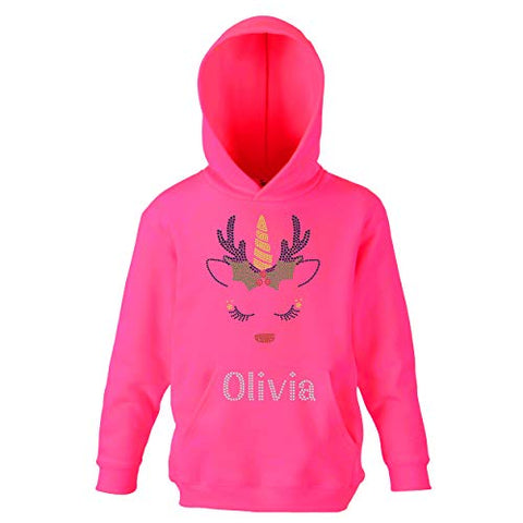Personalised Name | Christmas Unicorn Hoodie | Pink