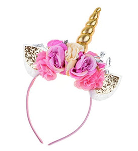 Merroyal Floral Crown Unicorn Headband Flower Headband Unicorn Birthday Party Photo Props (Pink and Gold)